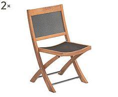 Set di 2 sedie pieghevoli in teak Cetra marrone - 50x85x57 cm