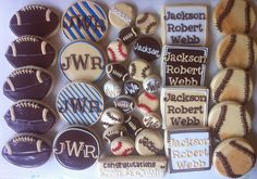 Vintage Sports baby shower cookies - HayleyCakes And COokies