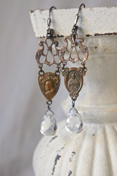 Vintage earrings rosary centers clear drop crystals vintage assemblage jewelry- by French Feather Designs.