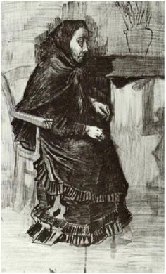 Vincent van Gogh Woman in a Dark Dress (Sien's Mother?) Drawing