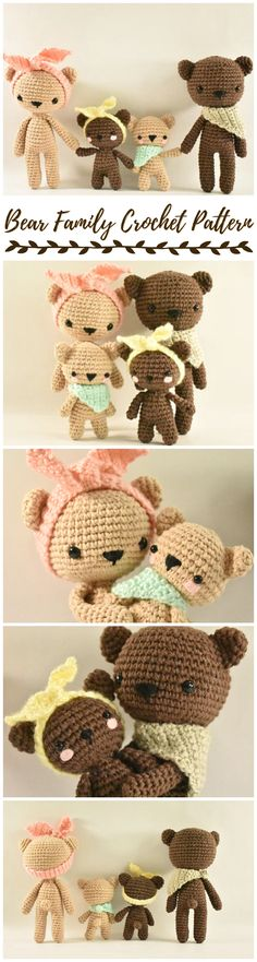 Oh my goodness! I love this sweet bear family crochet pattern! Look at the little bear cubs! They're so cute! Patterns for both sizes of this adorable crochet teddy bear toy. So sweet! #etsy #ad #diy #stuffedanimals #toys #handmade