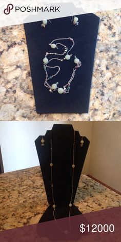 "Ann Taylor necklace and earring set Silver-colored chain with faux jade beads as well as smaller purple and dark green beads.  The length of the chain is approximately 20"" long, but it can easily be ""doubled up"" for a different look!  Classic. Ann Taylor Jewelry Necklaces"
