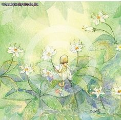 Becky Kelly Studio watercolor artist. paintings, portfolio, and original art. View vintage style children's book illustrations of children at play, dolls and toys, animals playing princess at a tea party with friends, teddy bears and ladybugs. a fairy resting on a leaf, ladybugs.