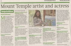 "FROM THE ARCHIVES: Local media coverage in the Westmeath Independent on 23 May 2015. ""Inquisition"" with Nuala Holloway (Compiled by Deirdre Verney). An interview about Nuala's life and career as a teacher, model, actress and artist."