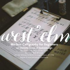 West Elm Calligraphy Workshop with Christie Jones of bedsidesign.  #LongIsland #WestElm
