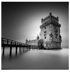 Belem Tower by vulturelabs Photography Workshops, Fine Art Photography, Street Photography, Landscape Photography, Travel Photography, Black And White Landscape, Black White Art, Black N White Images, Long Exposure Photos