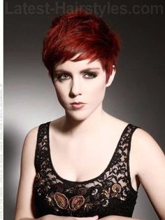Cute Red Edgy Pixie Cut