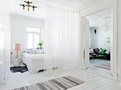 raumteiler zwischen schlafzimmer wohnzimmer durch vorhang ...
