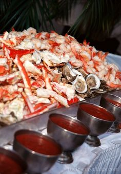 A #Seafood #Buffet is perfect for a #Beach #Wedding  Photo by Faith Gauthier of  TheInspiredEdge