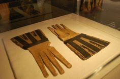 """From  """"Black: Masters of Black in Fashion and Costume"""" exhibition at the MOMU - 15th century leather gloves"""