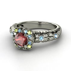 Snow white ring. topaz for my birth stone $735 Round Ruby 18K White Gold Ring with Sapphire & Yellow Sapphire - lay_down