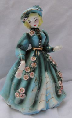 Vintage Porcelain Girl Figurine Lefton Geo Z Victorian Lady