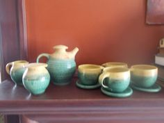 Japanese pottery tea set, teapot, cups, creamer and sugar