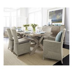 Captiva Seaside White Side Chair and Cushion in Dining Chairs   Crate and Barrel.....someday...after kids