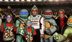 Ryan Newman poses with a couple of Teenage Mutant Ninja Turtles on the grid before the start of the 500-miler at Charlotte. View more photos from Charlotte here: http://www.stewarthaasracing.com/fan/galleries/2012-charlotte-500/#