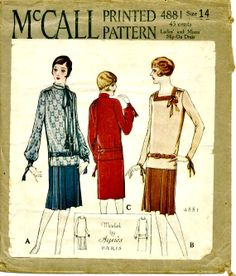 1920s Sewing Pattern - RARE Roaring 20's Pattern - 1920's Misses' Slip-On Dress - McCALL 4881 - UNCUT - Factory Folded