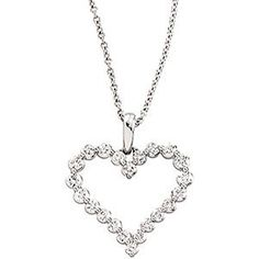 Genuine #IceCarats Designer #Jewelry Gift 14K White Gold Diamond #Heart #Necklace  beauty.techreports.us Your #1 Source for Jewelry and Accessories