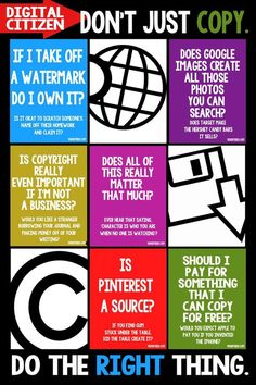 Copyright information for students.  This is a bold and colorful reminder that would look great in a computer lab or IT classroom.