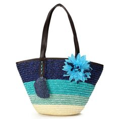 Bags Beach Striped H Summer Lady Shoulder Wove Straw vintage Casual No Stripe Tote