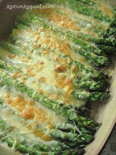 Apron Appeal: Asparagus Gratin. A side dish for a special occasion or a potluck. Very cheesy and decadent.