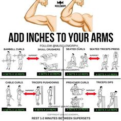 ADD INCHES to your arms with this superset workout LIKE/SAVE IT if you found this useful. FOLLOW @musclemorph_ for more exercise & nutrition tips  . TAG A GYM BUDDY . ✳Enhance your progress with @musclemorph_ Supplements ➡MuscleMorphSupps.com #MuscleMorph