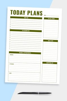This Daily Day Planner is for person who love life planning and keeping things in order. If you need more templates to improve your efficiency and master your time, browse the collection of templates that offers a great variety of designs. You'll get a ready-to-print PDF file. You can use it with Noteshelf, Notability, Xodo and Goodnotes for your iPad or Android tablet. #planner #daily #appointment #day #book List Template, Planner Template, Schedule Templates, Daily Agenda, Daily Organization, Happy Planner, Agenda Planner, Passion Planner, Daily Planner Printable