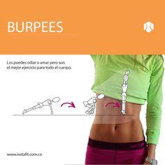 Si quieres trabajar todo tu cuerpo los burpees son el mejor ejercicio. Empieza con 15 rps y ve aumentando el nivel. Conoce nuestro plan completo de ejercicio aquí www.instafit.com.co