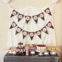 Don't like the sheet and use doilies with pink circles for the banner. rustic vintage baby shower | pink baby shower | Baby Lifestyles