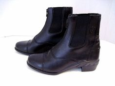 ARIAT Black Leather Front Zip Paddock 4LR Technology Riding Ankle Boots SZ 6 B #Ariat #RidingEquestrianAnkle