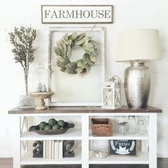 Console table, farmhouse design, fixer upper style, home decor, farmhouse decor Diy Home Decor Rustic, Entryway Decor, Farmhouse Decor, Farmhouse Style, Modern Farmhouse, Farmhouse Entryway Table, Entryway Console, Entryway Ideas, Farmhouse Design