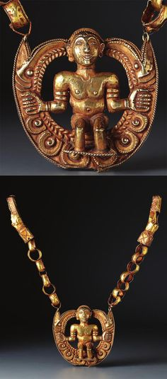 Indonesia ~ Tanimbar archipelago | Necklace with Atuf upon a throne (mase); gold | 17th century or earlier | Source: 'Gold Jewellery of the Indonesian Archipelago', page 46 / 47