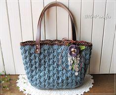ブルーグレーの松編み麻ひもバッグ*パンジー