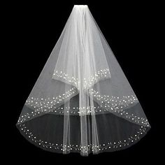 New 2T White/Beige Elbow Beaded Edge Pearl Beads Wedding Bridal Veil With Comb