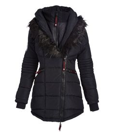 Canada Weather Gear Black Faux Fur-Accent Asymmetrical-Zip Puffer Coat | zulily