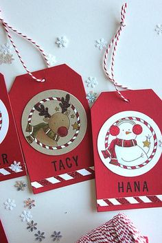 Personalized Christmas Tags by Heather Nichols for Papertrey Ink (December 2014)