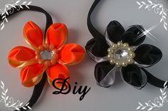 Flor de fita de cetim com duas cores \ DIY - Satin ribbon flower with tw...