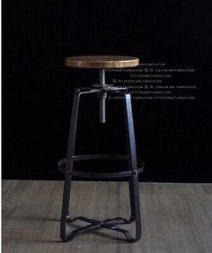 Vintage in ferro battuto di sollevamento a spirale sgabello da bar in legno massiccio sgabelli bar ,alta 65cm