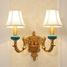 E12/E14 Tiffany Simple Tradisjonell / Klassisk Land Messing Funktion for Ministil Pære medfølger,Oplys Væglys – DKK kr. 8.764