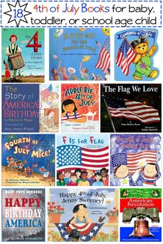 18 4th of july patriotic books for baby, toddler, tots, and school age kids.  The books on the list are mostly picture books.  A few picture books are thrown into the mix, too.
