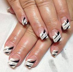 Aqua Nails, Silver Glitter Nails, Sparkly Nails, Glitter Nail Art, Bling Nails, Gel Nails, French Manicure Designs, Short Nail Designs, Work Nails