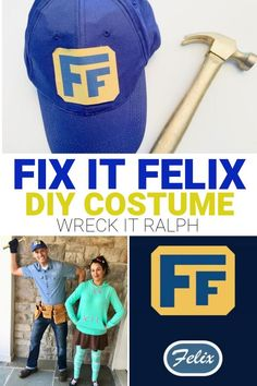 Fix It Felix Costume Tutorial - Make this DIY Fix it Felix costume from Wreck-It Ralph and Ralph Breaks the Internet. It makes a good couples Halloween costume, too, with Vanellope Von Schweetz or Calhoun. Wreck It Ralph Halloween, Wreck It Ralph Costume, Halloween Costumes For Work, Mom Costumes, Homemade Costumes, Homemade Halloween, Disney Costumes, Holidays Halloween, Disney Halloween