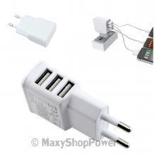 CARICABATTERIE CASA TRIPLO USB UNIVERSAL 2A WHITE BIANCA NEW NUOVA - SU WWW.MAXYSHOPPOWER.COM