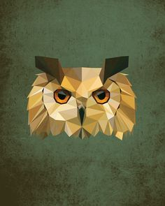 Owl, Geometric, Poly, Polygon, Poster, Art, Illustration, Hiking, Forest, Kid Nursery, Bird, Shapes, Green, Home Decor [NO 003] by IronBrothers17 on Etsy