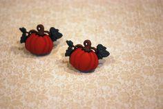 Pumpkin Earrings  Pumpkin Studs Orange Pumpkin by Ear2There