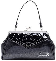 Sourpuss Spiderweb Silver Backseat Baby Handbag Online In Australia Rockabilly
