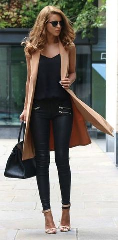 #street #style / leather + camel coat. women fashion outfit clothing stylish apparel @roressclothes closet ideas