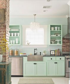 mint kitchen - less mint more white. simple cabinets