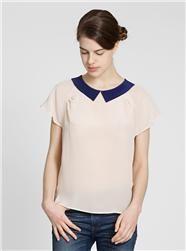 Couverture and The Garbstore - Womens - Colenimo - Silk Crepe Contrast Collar Top