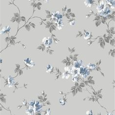 Tapet Duro 1900 Kristina Gråblå - Sovrum Diy - Lilly is Love Toile Wallpaper, Room Wallpaper, Photo Wallpaper, Vintage Floral Wallpapers, Floral Vintage, Easy Up, Vine Drawing, Cottage Dining Rooms, Paisley Art