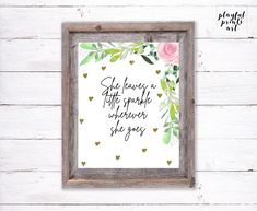 She Leaves a Little Sparkle Wherever She Goes, 8x10, Instant Download, Printable by playfulprintsart on Etsy Printable Art, Printables, Nursery Décor, Childrens Room Decor, Can Design, Things To Know, Decoration, Digital Image, Girl Room